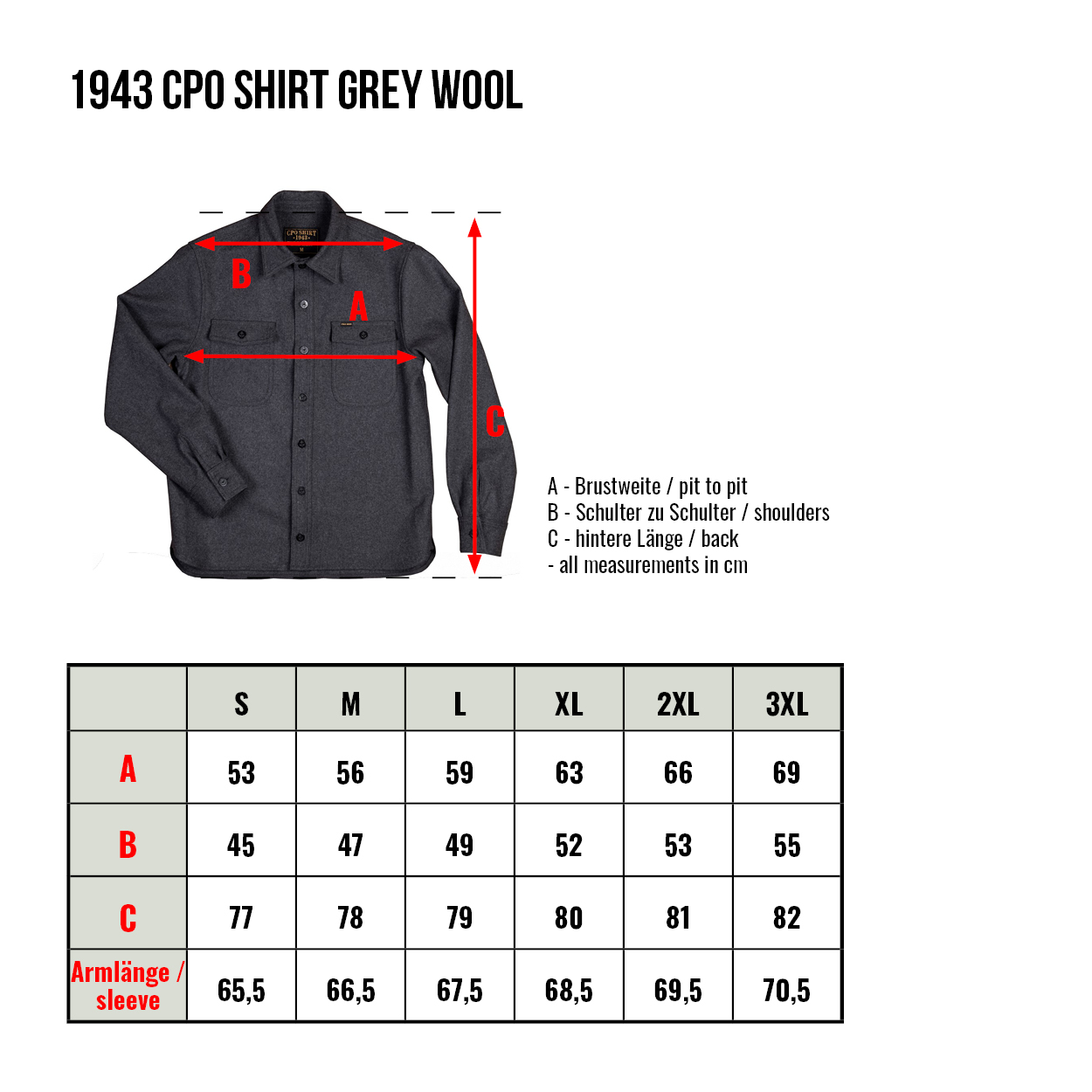 guide taille chemise pike brothers 1943 cpo shirt